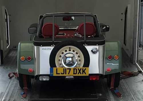 Single car covered transport of Caterham Sprint.